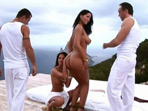 Angel Dark is ready for a foursome