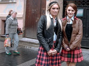 Schoolgirl threesome