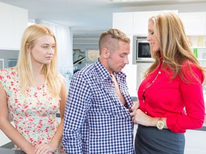 MILF Julia Ann and teen Natalia tag team