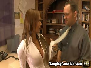 Naughty professor Monique Fuentes gets pounded on her desk.