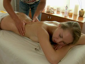 Teen with perky tits gets fucked on massage table