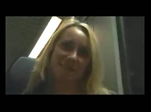 Blonde on a train