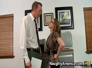 Petite blonde Madison Scott rides her co-worker`s hard cock in the office