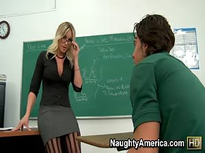 Professor Brittanie Lane gets her pussy pounded in the classroom