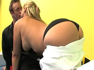 Busty blonde chick licks cum on the floor after getting fucked