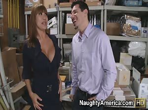 Ava Devine seduces her best employee and fucks him on the floor at work.