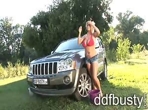 Voluptuous Chintia Flowers washing car