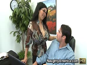 Secretary with huge tits fucks her coworker in the office.