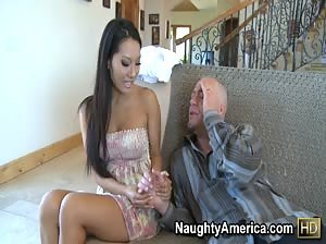Asa Akira helps her client out by giving him a massage and letting him touch her boobs... and vagina.