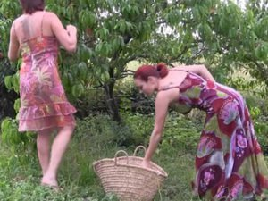 2 lesbians fucked in an orchard