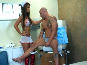 Busty nurse has sex in a bra and thigh high boots