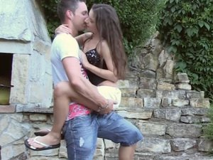 Outdoors blowjob from teen girl