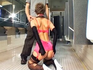 Anal sex in a public toilet