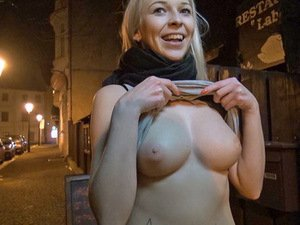 Flashing tits on the streets in Prague