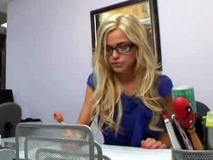 Cute blonde secretary ass fucked
