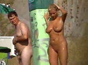 MILF with beautiful tits on a beach in Spain