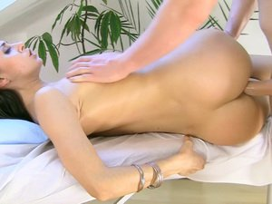 Savoury brunette girl gets boned during massage