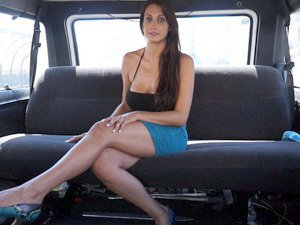 Busty Spanish babe fucked hard in a van