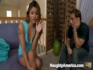 Charmane Star lets her boyfriends son fuck her after doing some laundry.