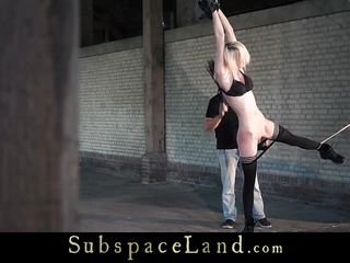 Grounded slave mouth hard fucked in bondage use of pain