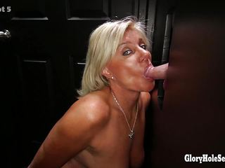 Gloryhole cock sucking mature blonde