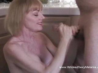 Blonde MILF Doing Some Extra Handjob for Hubby