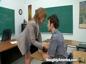Darla Crane is a naughty professor who loves sucking her student`s cock